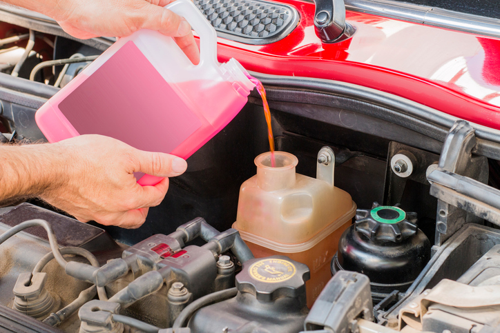 because coolant service in engine