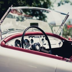 Side view of a convertible vintage car