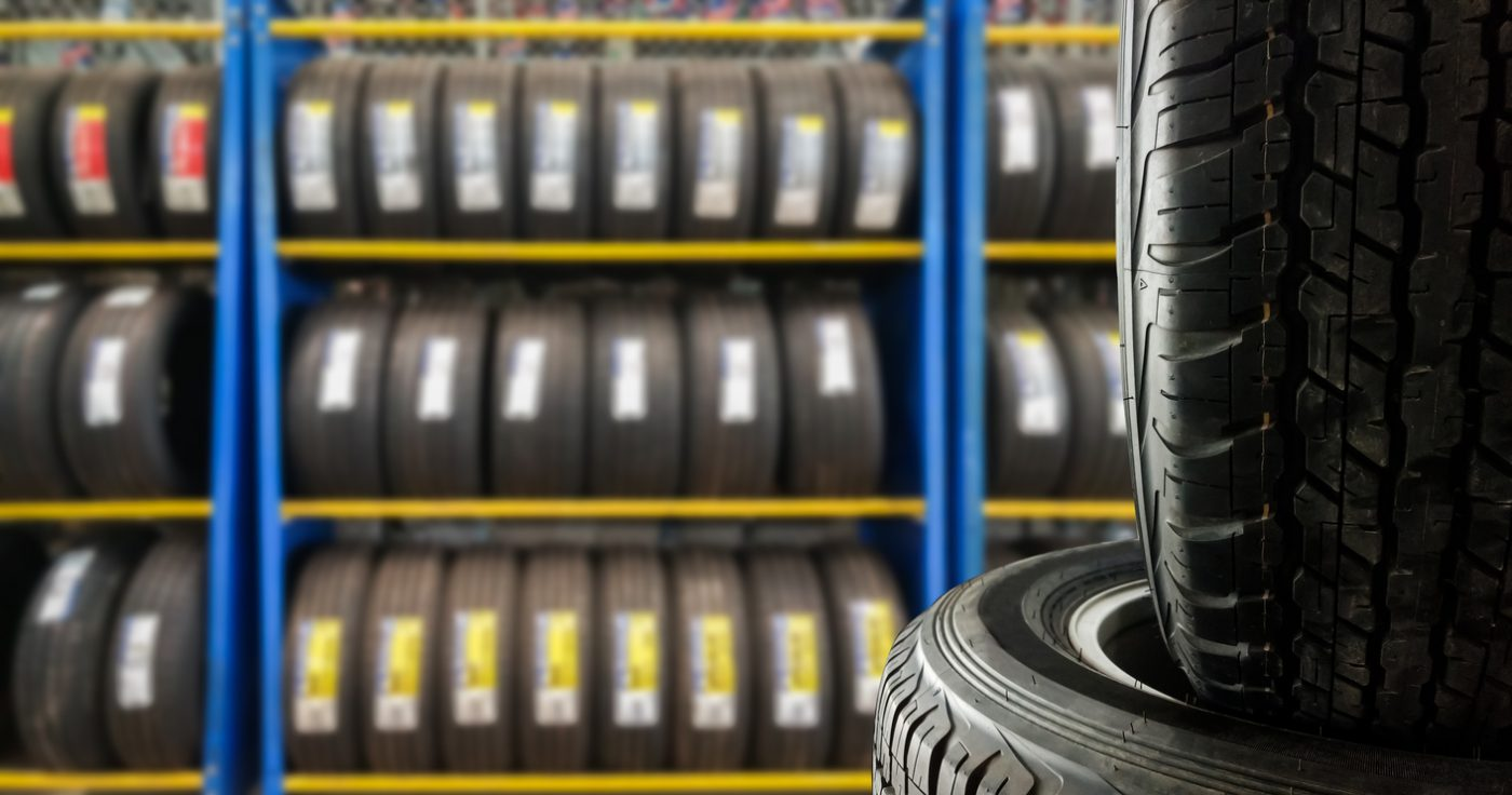 row of new tyres