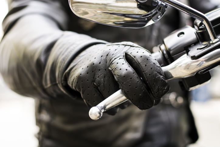 Motorcyclist hand over the break