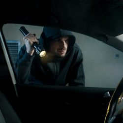 Thief stealing car