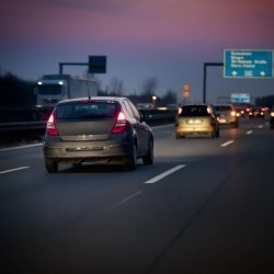 German autobahn at dusk