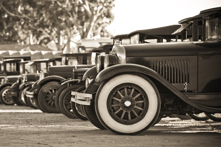 row of old cars