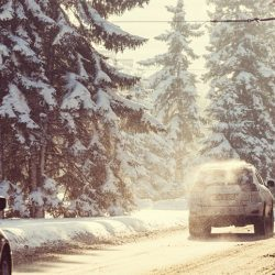 Winter road in city