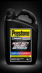 Bottle of Prestone Command heavy duty coolant/antifreeze concentrate 4.