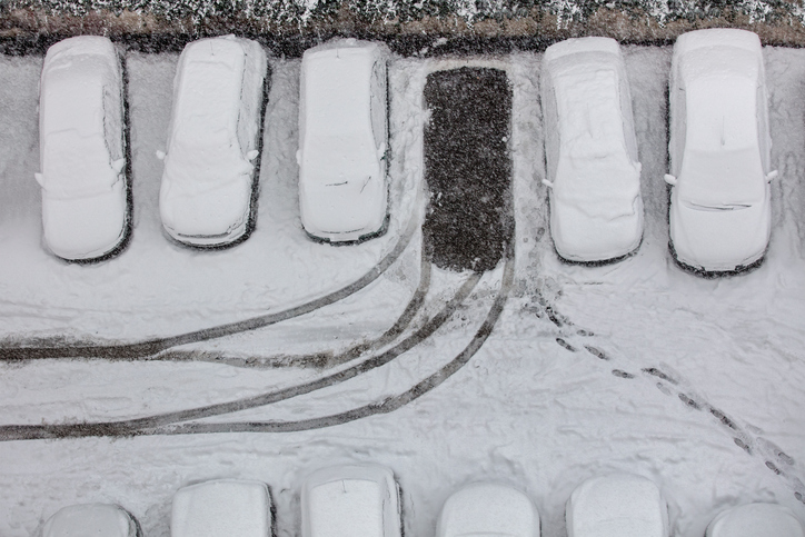 cars in snowy car park