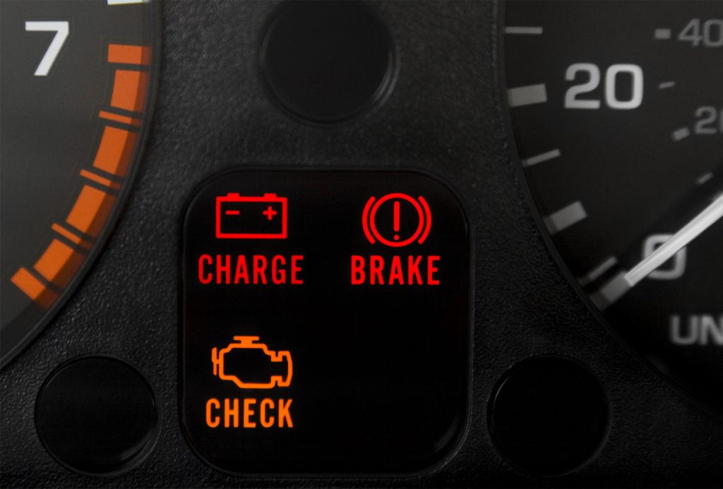 Car warning lights on dashboard