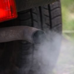 Car exhaust pollution from pipe