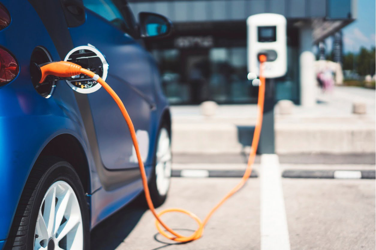 image of an electric car plugged in