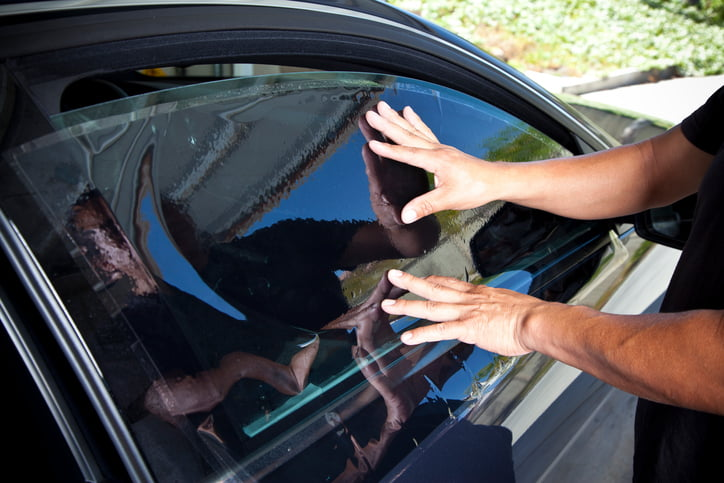 completed car window tinting