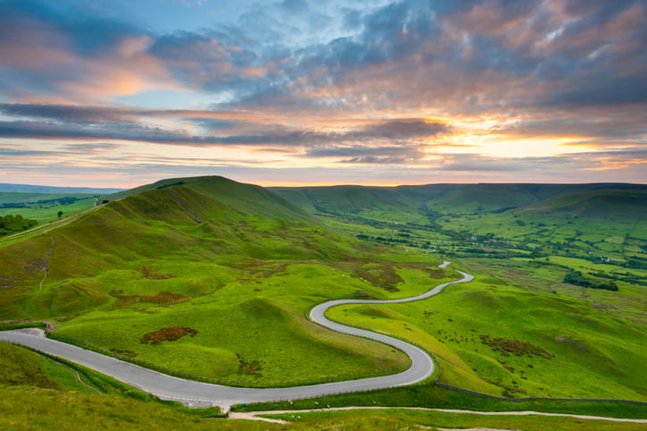 Winding country road to Edale Valley in the Peak District National Park