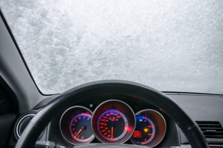 Inside view of ice on windscreen of a car