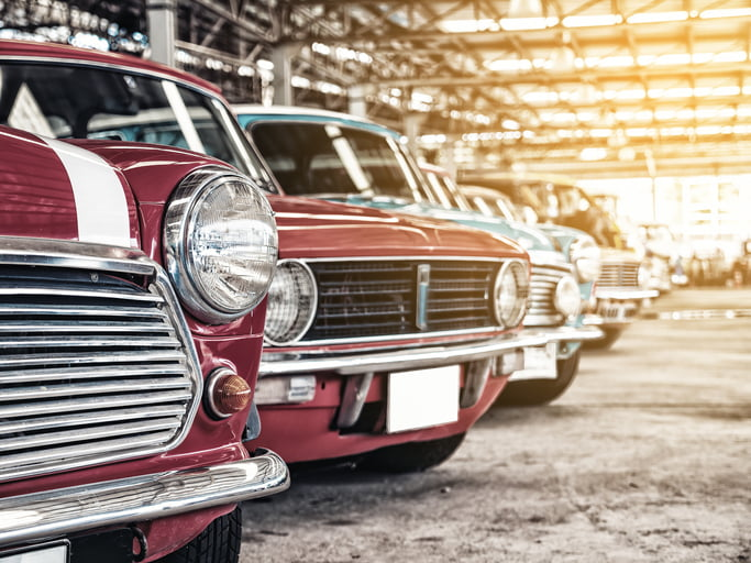 Row of classic vintage cars