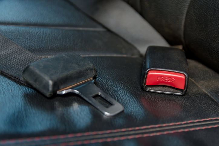 Car seat belt on The passenger seat inside cars. Safely on car
