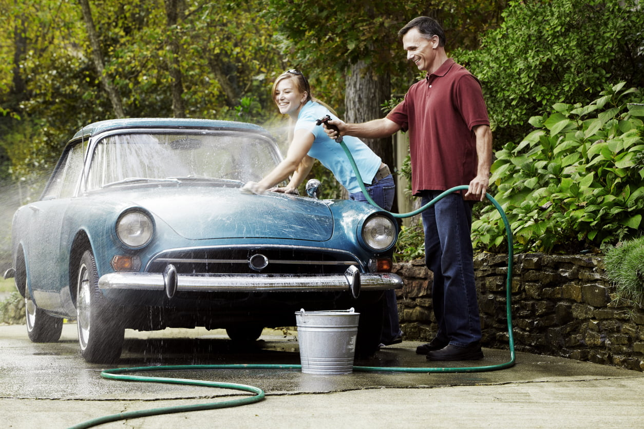 cleaning a classic car