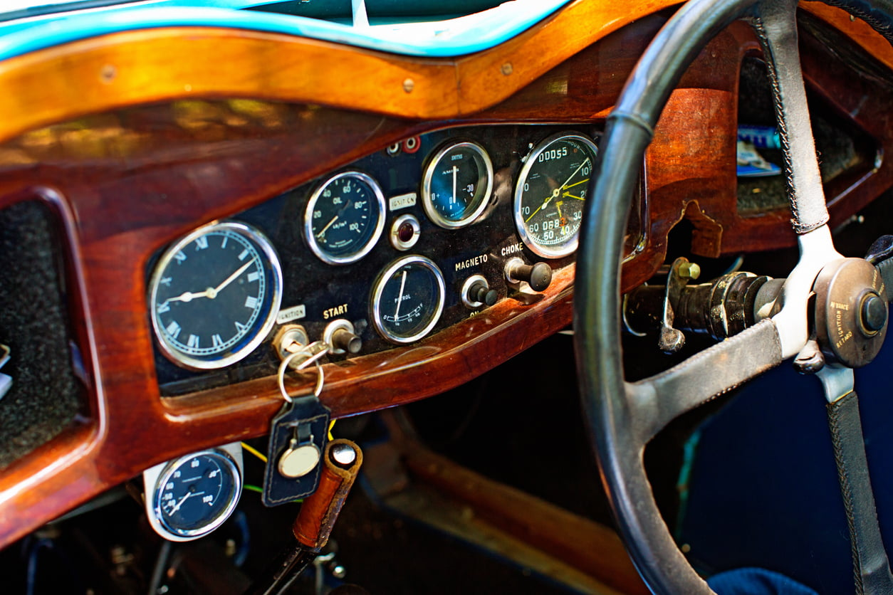 interior of vintage sports car