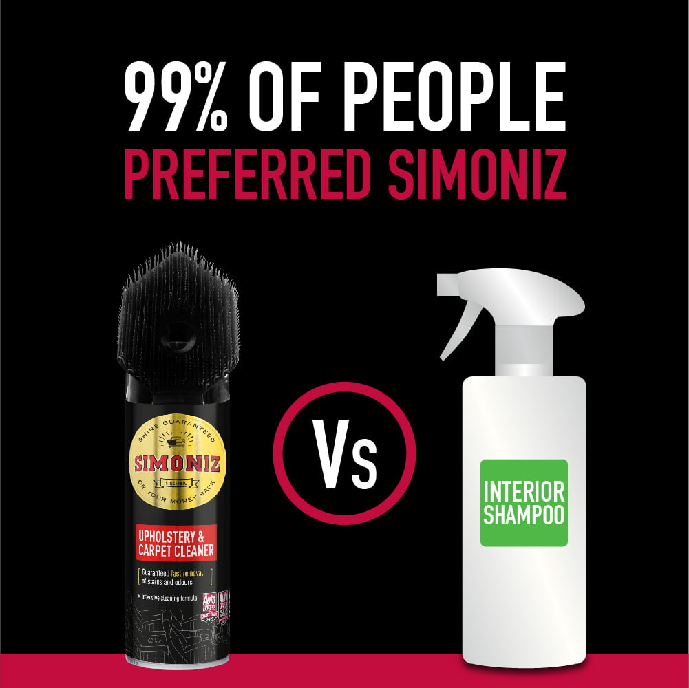 Simoniz upholstery and carpet cleaner outperforms leading competitor