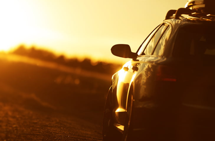 Car during sunset