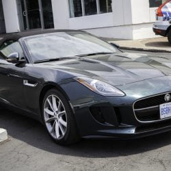Halifax, Nova Scotia, Canada - June 23, 2013: A Jaguar F-Type convertible parked outside a car dealership. Neighboring Volvo dealership and Volvo SUV visible in background. The Jaguar F-Type is a two-seat convertible launched in 2013 by Jaguar. It is available with three engine configurations including two V6 and a V8. (as of 2013)