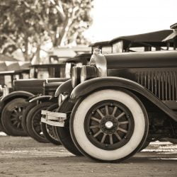 image of row of old cars