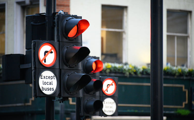 Traffic Signals in London, scene of rat running