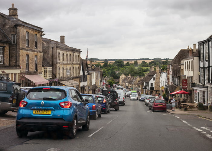 Traffic in the Cotswolds village of Burford, Oxfordshire