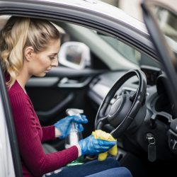 woman valeting her car
