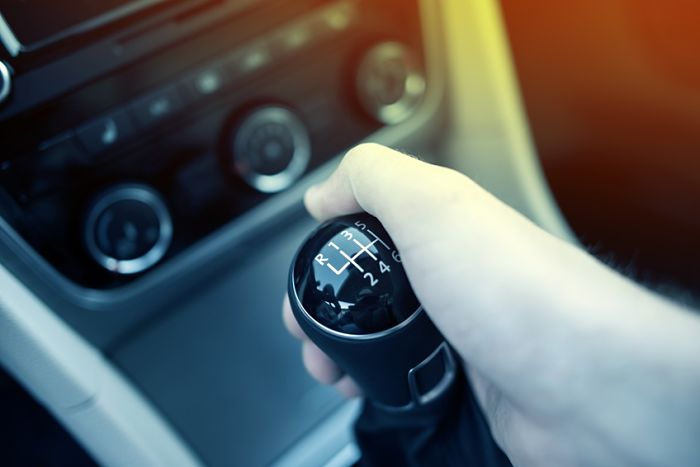 Manual Transmission Drive. Hand on Manual Transmission Car Stick. Six Speed Driving.