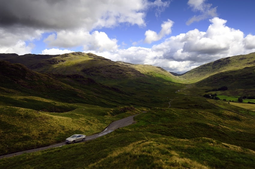 Driving up the Hardknott Pass