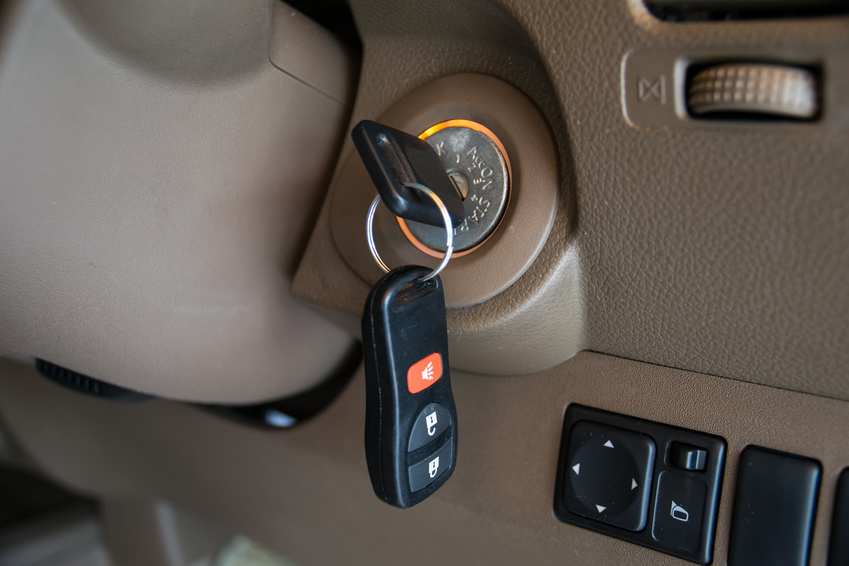 car key in ignition start lock
